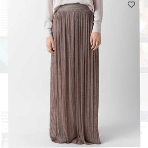Shimmer Pleated Flowy Maxi Skirt